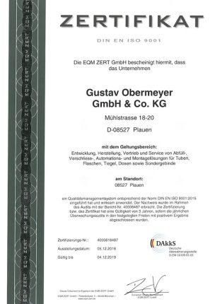 Zertifikat ISO9001 Gustav Obermeyer