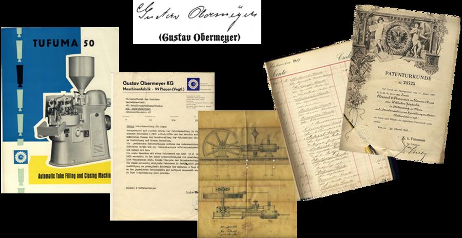 Alte Patenturkunde und andere Dokumente Firma Gustav Obermeyer
